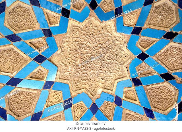 Close-up on detailed colorful wall decoration, Jami Mosque, Yazd, Iran