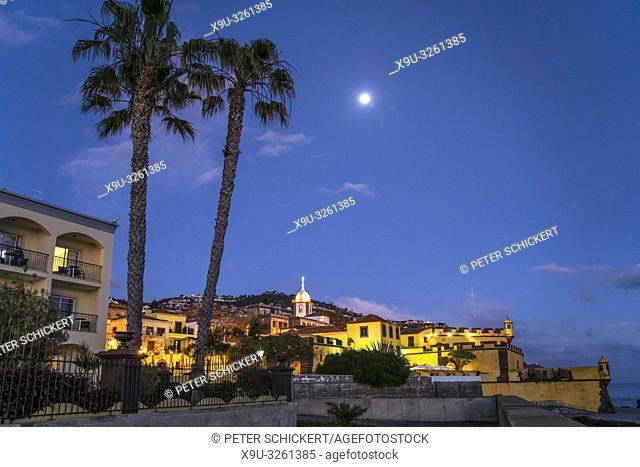 fortress Forte de Sao Tiago and the church Igreja do Socorro at dusk, Funchal, Madeira, Portugal, Europe