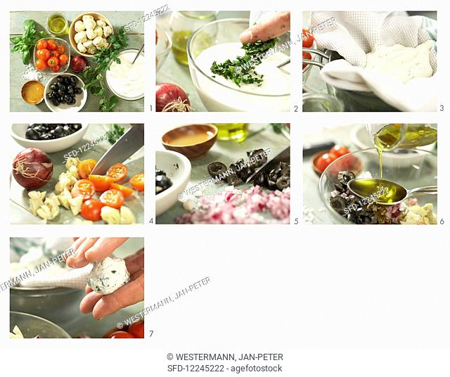 Small herb and cream cheese balls with marinated vegetables and oregano being made