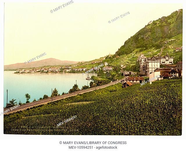 Territet-Montreaux, (i.e., Montreux), funicular railway, Geneva Lake, Switzerland. Date between ca. 1890 and ca. 1900