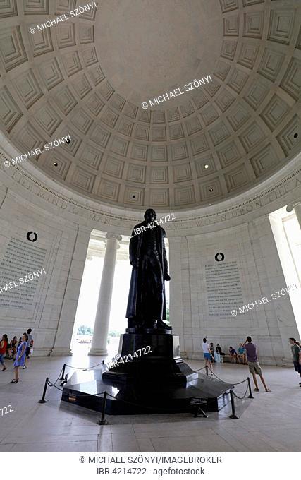Statue of Thomas Jefferson by Rudulph Evans, Jefferson Memorial, The Mall, Washington, D.C., United States