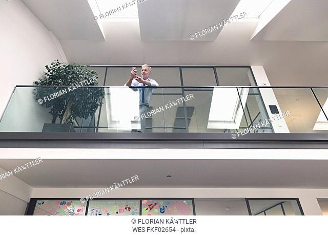 Successful businessman standing at railing in his office, using smartphone
