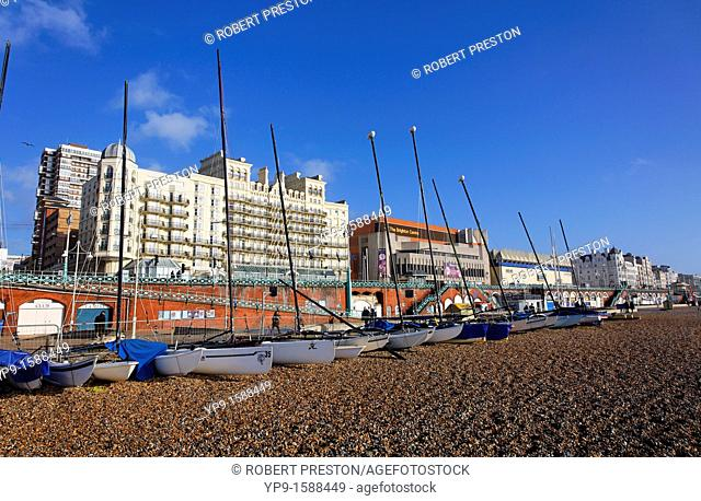 The Grand Hotel and seafront at Brighton, East Sussex, England