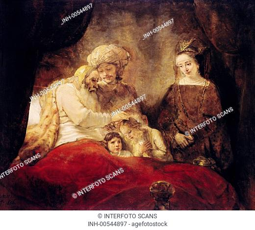 fine arts, Rembrandt Harmensz van Rijn 15 7 1606 - 4 10 1669, painting, The blessing of Jacob, 1656, oil on canvas, 173 cm x 209 cm, state museum, Kassel