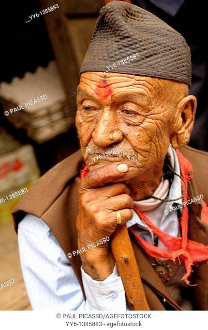 old nepalese man , the nepalis , life in kathmandu , kathmandu street life , nepal