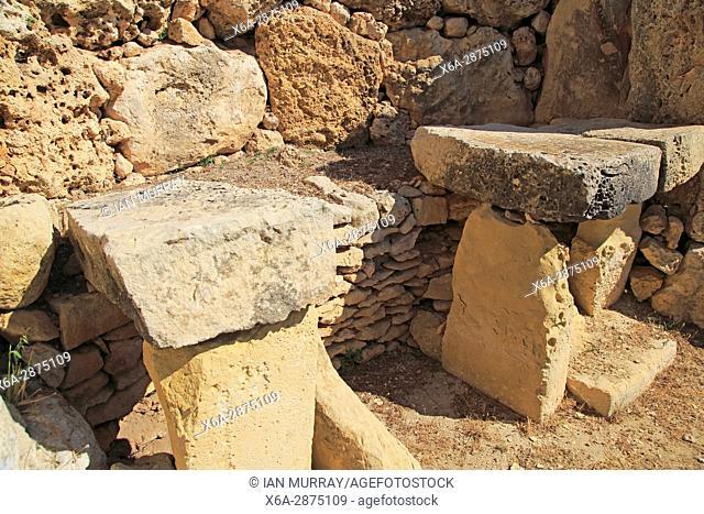 Ggantija neolithic megalithic complex site, 5500 years old prehistoric temple, Island of Gozo, Republic of Malta