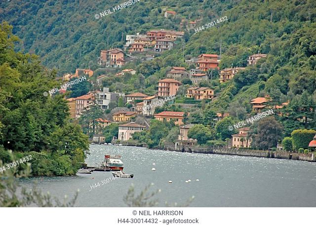 The village of Tremezzo on Lake Como, Italy, opposite Comacina Island famous for its film settings