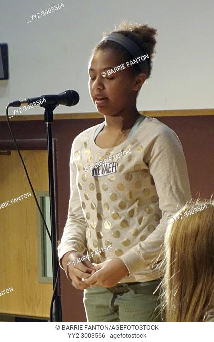 6th Grade Girl Competing in Middle School Spelling Bee, Wellsville, New York, USA