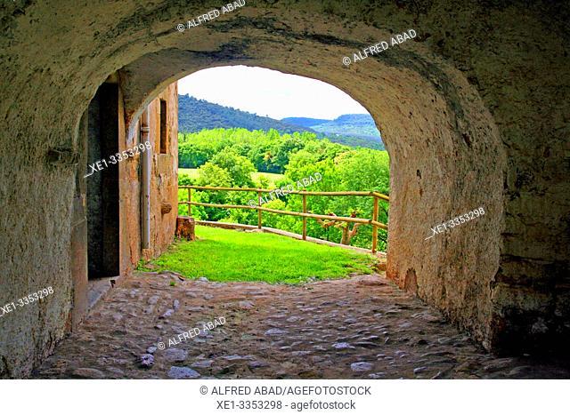 arcade and cobbled street, Granollers de Rocacorba, Vall de Llémena, Girona, Catalonia, Spain