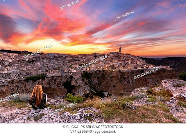 Sunset in Matera district, Basilicata, Italy