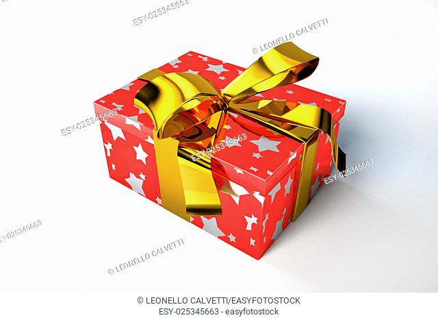 Gift box, red with golden stars and golden ribbon
