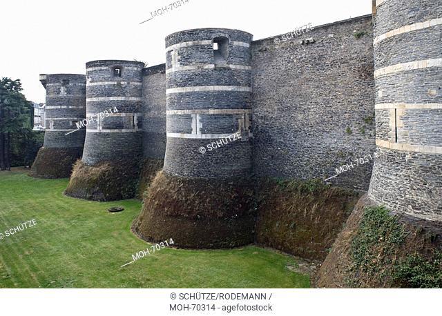 Angers. Bastionstürme an der Nordostmauer von Osten