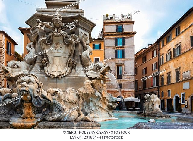 Fountain of the Four Rivers with an Egyptian obelisk. Italy. Rome. Navon Square