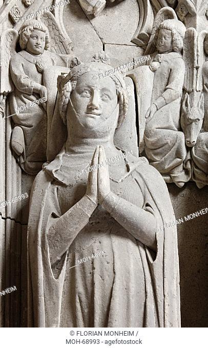 Fürstengruft, Doppelgrab für Graf Arnold von Kleve 1117 - 1142 und dessen Gemahlin Ida von Brabant, Anfang 14. Jhd., Detail