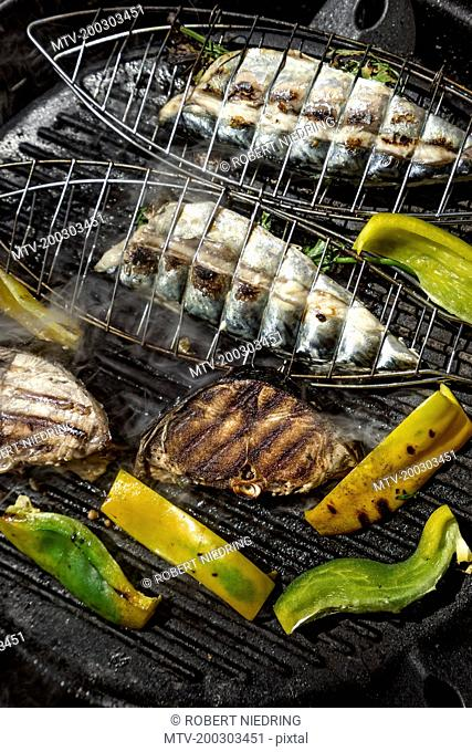 Close-up of tuna fish with bell pepper and mackerel on grill, Puglia, Italy