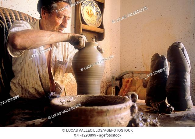 Potter at work Sorbas, Almeria province, Andalucia, Spain