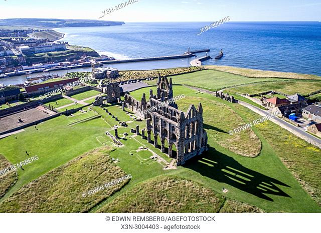 Aerial view of Whitby Abbey sitting at the edge of the sea, Whitby, Yorkshire, UK