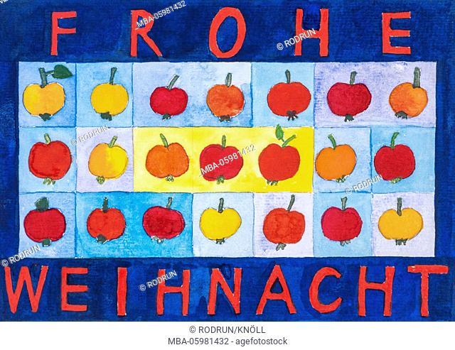 Watercolour of Heidrun Füssenhäuser, Merry Christmas, yellow and red little apples