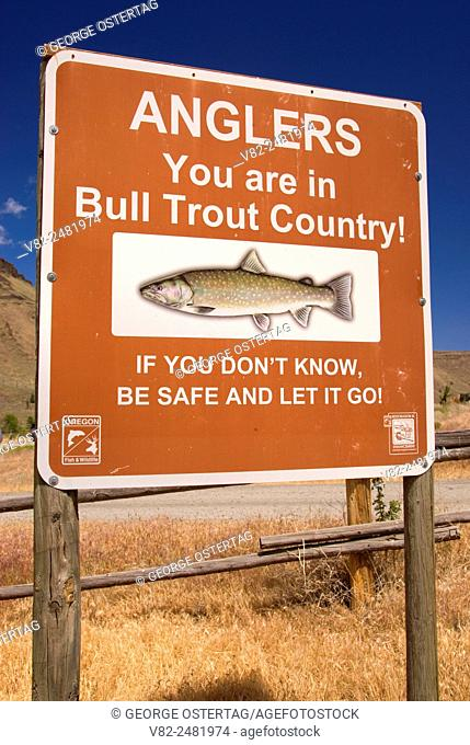 Bull Trout sign, Deschutes Wild & Scenic River, Prineville District Bureau of Land Management, Oregon