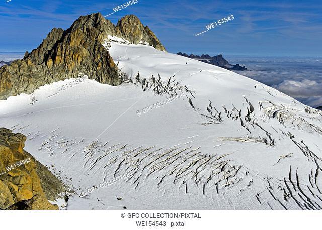 Peak Aiguille du Tour rising above the glacier Plateau du Trient, Valais, Switzerland