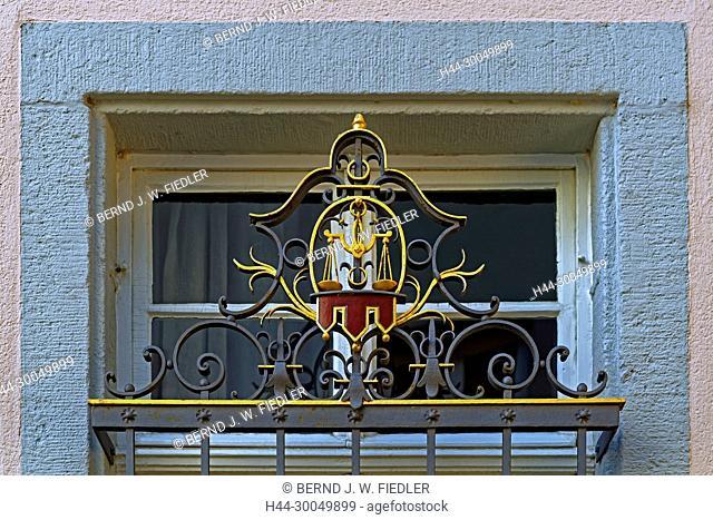 Swan chemist's shop, formerly Nassau-Weilburgische court chemist's shop, in 1725, window grid, ornament, scales, Kirchheimbolanden Germany
