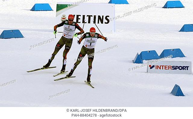 Eric Frenzel (r) and Johannes Rydzek from Germany in action during the single combination event normal hill/10 km during the FIS Nordic World Ski Championships...