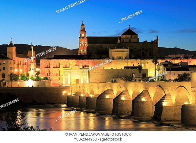 Mosque–Cathedral of Cordoba and the Roman Bridge in the Evening, Andalusia, Spain
