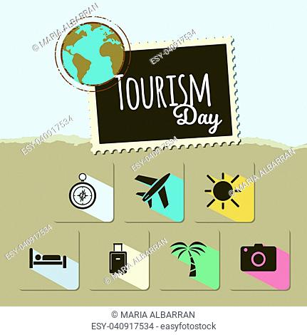 World Tourism day card on blue and brown background. Vector illustration