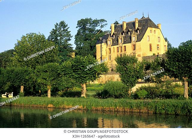 Château de Châtillon-en-Bazois, on the bank of the Canal of Nivernais, Nievre department, region of Burgundy, center of France