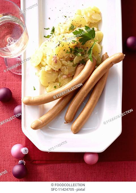 Potato salad with hot dog sausages