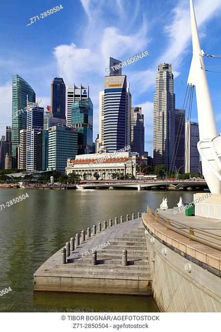 Singapore, Central Business District, skyline, Fullerton Hotel,