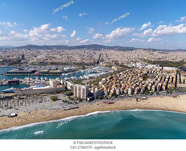 Aerial view of Barcelona wit the beach and the quarter of La Barceloneta