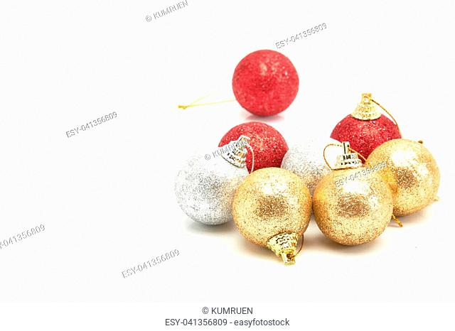 beautiful red gold and silver Christmas balls isolated on white
