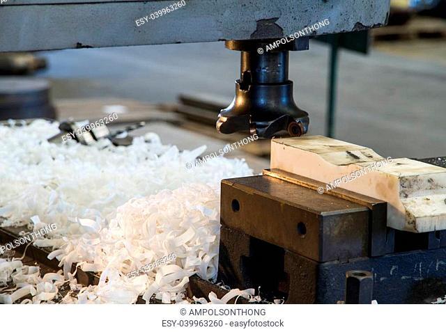 Cutters milling machine with scrap in workshop