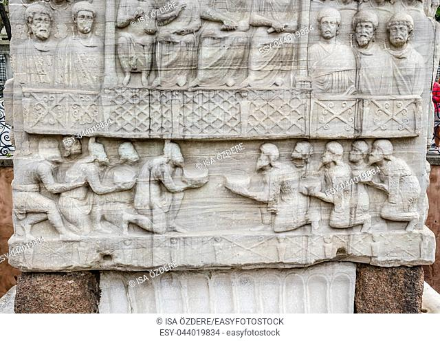 Close detailed view of Obelisk of Theodosius or Egyptian Obelisk in ancient Hippodrome near Sultanahmet,Blue Mosque in Istanbul, Turkey