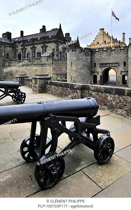 Cannons at Stirling Castle, Scotland, UK
