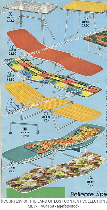 1960s German advertisement for collapsible fabric garden sun loungers in various bright, colourful fabrics as well as garden tables