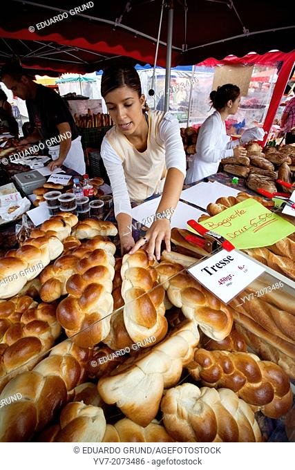 Lausanne Market on Place Riponne post a variety of typical bread shaped braid. Lausanne, Vaud, Switzerland, Europe