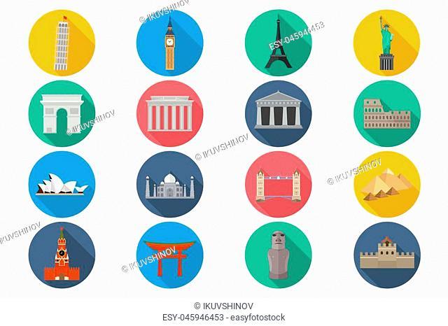 Travel landmarks icon set - stylized icons of the world's monuments