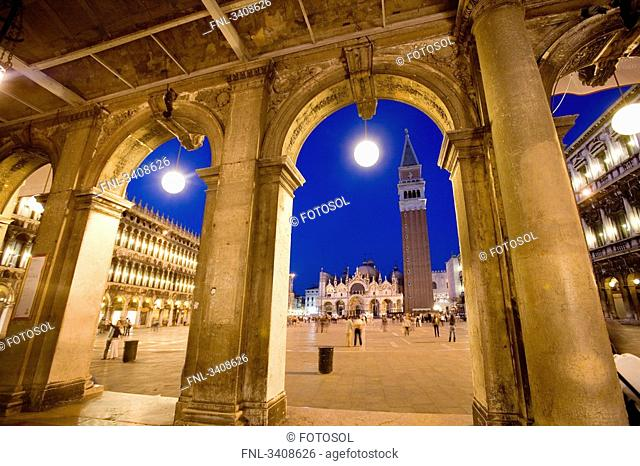 St. Marcus Square seen through arches, Venice, Italy, low angle view