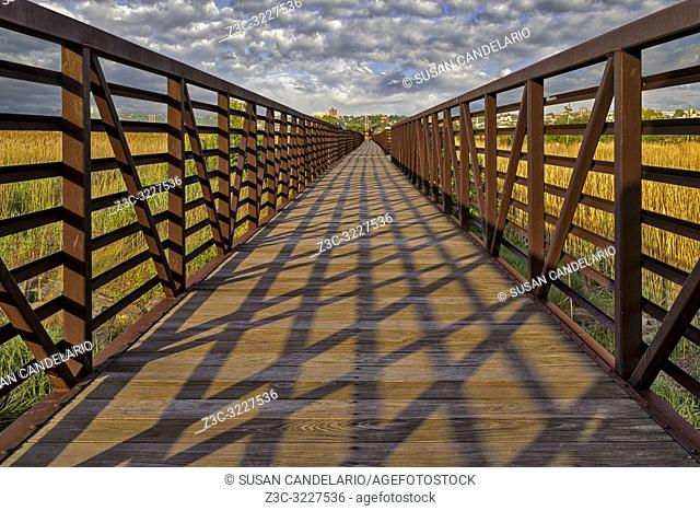 Secaucus NJ Greenway Trail - The sun creates a symetrical design pattern by casting shadows on the Secaucus, New Jersey, Greenway