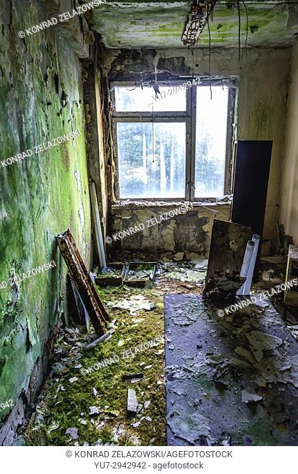 Interior of Hospital No. 126 of Pripyat ghost city, Chernobyl Nuclear Power Plant Zone of Alienation around nuclear reactor disaster, Ukraine