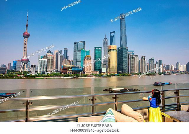 China, Shanghai City, Pudong District, Lujiazui Area, Huangpu river, Jin Mao Bldg.,World Financial Center and Shanghai Tower