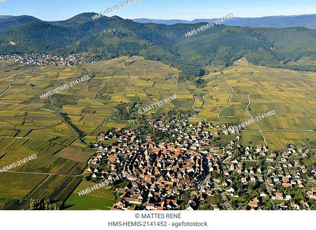 France, Haut Rhin, Alsace Wine Route, Eguisheim, labelled Les Plus Beaux Villages de France (The Most Beautiful Villages of France) (aerial view)