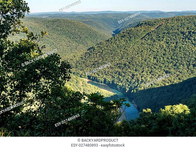 View of Cheat River Canyon from Snake River Wildlife Management Area near Morgantown in West Virginia