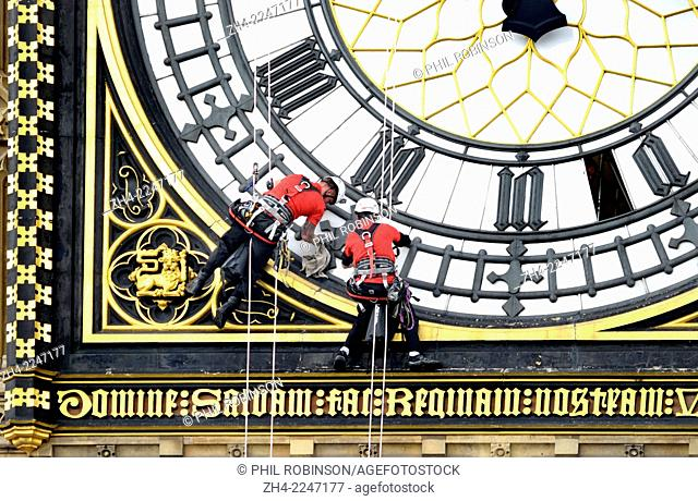 London, England, UK. August 2014 - the clockfaces of 'Big Ben' are cleaned for the first time since 2010. It takes four days - one day for each face