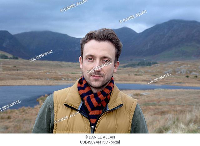 Man enjoying countryside, Connemara, Ireland