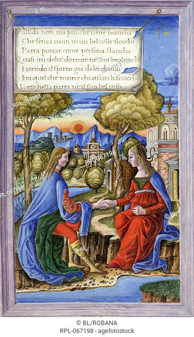 Petrarch and Laura, Whole folio Petrarch conversing with the dead Laura, seated in a landscape by a river. Seven lines from the 'Triumph of Death'