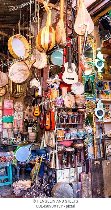 Shop full of traditional musical instruments, Marrakech, Morocco