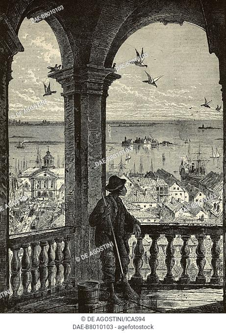 A black man, leant against a balustrade of Saint Michael's Church, watches Charleston Harbor, United States of America, engraving from The Illustrated London...